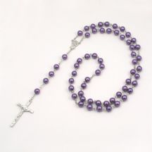 Purple Pearl Rosary Beads